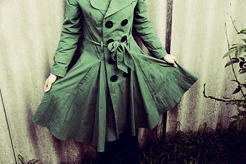 Green peacoat