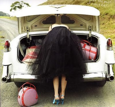 Car with suitcase