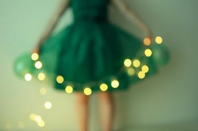 Green dress with lights
